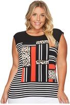 Calvin Klein Plus Plus Size Mixed Media Print and Striped Top