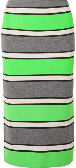 Marc Jacobs Striped Cashmere Midi Skirt - Green