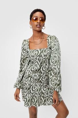 Nasty Gal Womens Zebra Print Puff Sleeve Mini Dress - Green - 4
