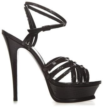 Saint Laurent 140mm Heel Black Leather Sandals