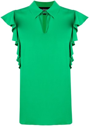 Boutique Moschino Ruffled Sleeve Collared Blouse