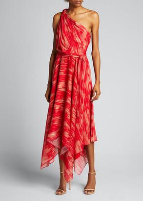 Halston Braided Strap One-Shoulder Georgette Handkerchief Gown