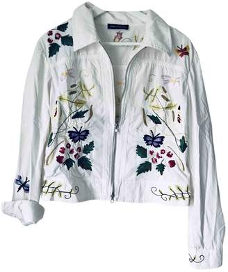 Nice Connection White Cotton Jacket for Women
