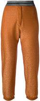 Nude glittery cropped trousers - women - Polyamide/Polyester/Viscose - 42