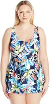 Maxine Of Hollywood Women's Plus Size Jungle Tropic Empire Swim Dress One Piece Swimsuit