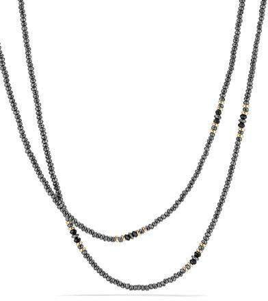 "David Yurman Osetra Tweejoux Faceted Hematine & Black Onyx Necklace, 36""L"