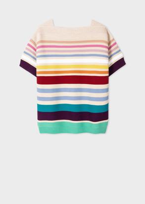 Paul Smith Women's Multi-Stripe Knitted Short-Sleeve Top