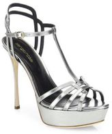 Sergio Rossi Ines Mirrored Leather Platform Sandals