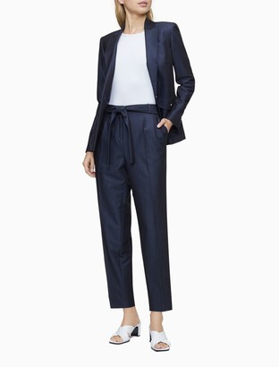 Chambray Tie Waist Pleated Ankle Pants