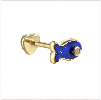 Pamela Love Diamond Lapis Inlay Fish Single Thread Through Stud Earring - Yellow Gold