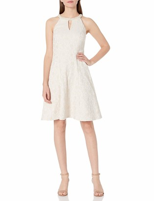 London Times Women's Petite Flower Jacquard Fit and Flare Halter with Beaded Neck