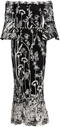 Marchesa Floral Off-The-Shoulder Dress