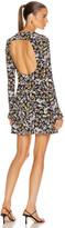 Les Rêveries Open Back Long Sleeve Mini Dress in Liberty Floral Black   FWRD