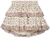 LoveShackFancy Tiered Floral-print Cotton Mini Skirt - Cream