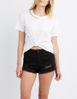 Charlotte Russe Graphic Neck Cropped Tee