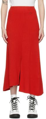 Kenzo Red Wool Asymmetric Skirt