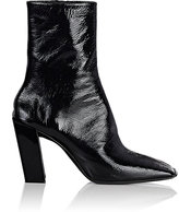 Balenciaga Women's Inclined-Heel Patent Leather Ankle Booties