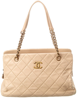 Chanel Beige Quilted Lambskin Leather Small Cc Crown Tote