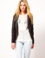 Barney's Originals Barneys Originals Textured Leather Look Jacket With Asymmetric Zip