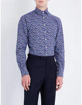 Duchamp Mens Navy Buttoned Flamboyant Floral Tailored-Fit Cotton Shirt