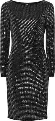 Wallis Silver Sequin Ruched Side Dress