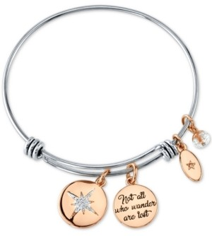 "Unwritten Not All Who Wonder Are Lost"" Crystal Star Bangle Bracelet in Stainless Steel and Rose Gold-Tone Stainless Steel Silver Plated Charms"