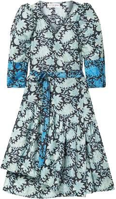 Apiece Apart Meru Asymmetric Printed Silk Crepe De Chine Wrap Dress