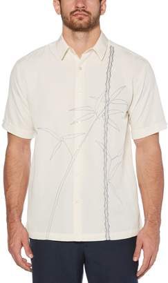 Cubavera Textured asymmetrical bamboo embroidery shirt