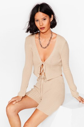 Nasty Gal Womens Let Knit Be Tie Cardigan and Shorts Set - Sand