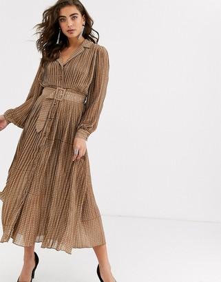 Object polka dot pleated maxi dress with self belt-Black