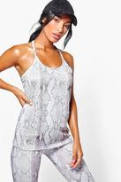 Boohoo Maya FIT Snake Print Performance Running Vest