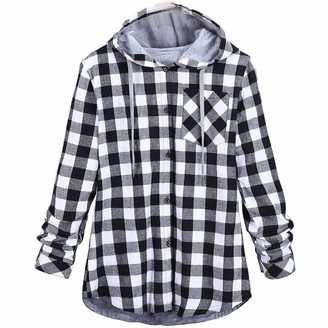TOPKEAL Coat Women Plaid Hooded Cardigan Shirt Button Sports Casual Cotton Blouse Warm Slim Lapel Long Sleeve Jacket Outerwea Ladies Young Fashion 2018 Red Black Blue Gray (XXXL