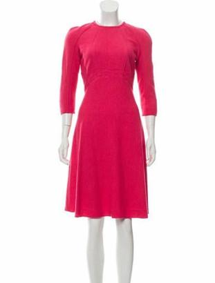 Oscar de la Renta Wool-Blend Fit and Flare Dress w/ Tags Pink