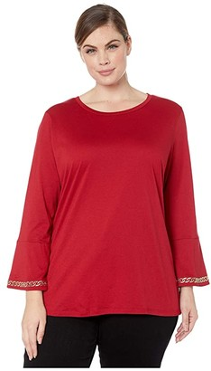 MICHAEL Michael Kors Size Embroidered Chain 3/4 Sleeve Top (Red Currant) Women's Clothing