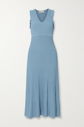 MICHAEL Michael Kors Ruffle-trimmed Ribbed-knit Midi Dress - Blue
