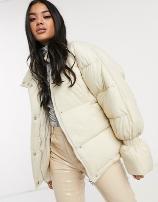 NA-KD Na Kd short puffer jacket with elastic detailed sleeves in off white-Beige