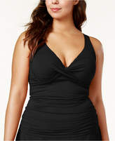 Anne Cole Plus Size Ruched Tankini Top Women's Swimsuit