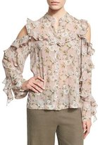 Robert Rodriguez Floral-Print Silk Cold-Shoulder Shirt, Pink