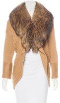 Alice + Olivia Wool-Blend Fur-Trimmed Cardigan