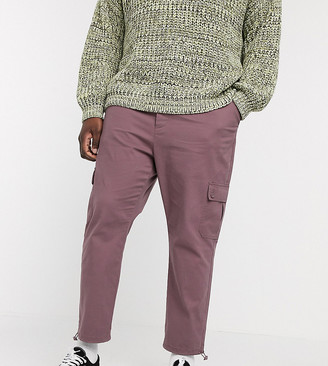 ASOS DESIGN Plus tapered cargo trousers with toggles in washed purple