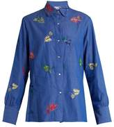 Thierry Colson Arthur leaf-embroidered cotton shirt