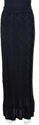 M Missoni Black Zig Zag Knit Pleated Maxi Skirt M