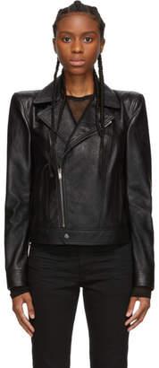 Saint Laurent Black Leather Wide Shoulders Motorcycle Jacket
