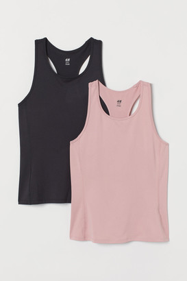 H&M 2-pack Sports Tank Tops - Pink