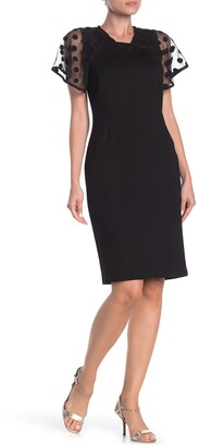 Tahari Sheer Dot Sleeve Dress