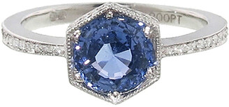 Cathy Waterman Hexagonal Blue Sapphire Bezel Platinum Ring