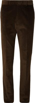 Kingsman Brown Slim-Fit Stretch-Cotton Corduroy Suit Trousers