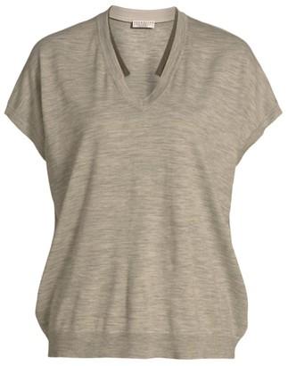 Brunello Cucinelli Wool & Cashmere Short-Sleeve Monili Knit T-Shirt