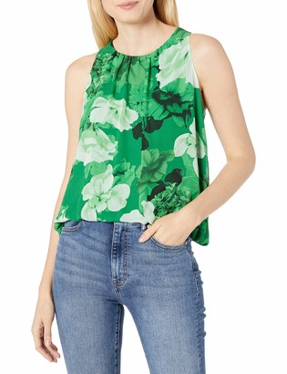Vince Camuto Women's Sleeveless Watercolor Melody Floral Blouse