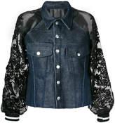 Aviu sequin sleeve denim jacket